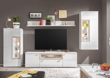PRAG Wohnzimmer Set 5 Komplettset Wohnkombination Weiß Hochglanz / San Remo – Bild 2