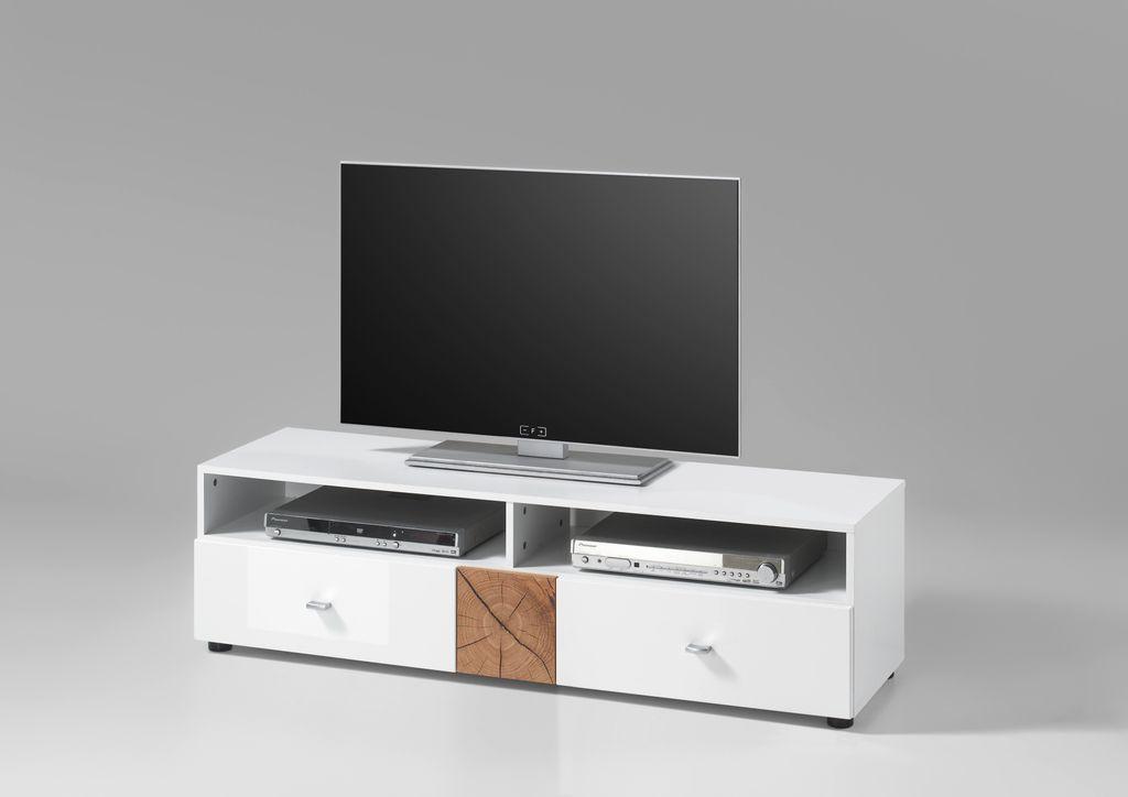 FOREST Lowboard TV Möbel Fernsehmöbel Weiß Hochglanz