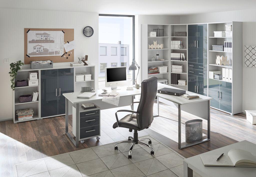 Komplettbüro Büro Komplettset Home Office Lux Grau Graphit Glas | eBay