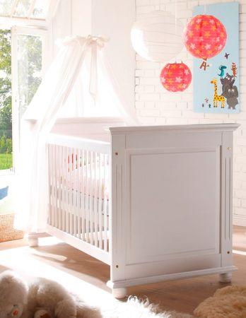 Laura Babybett 70x140cm Bett Baby Babymöbel Kinderbett Kiefer massiv Weiß