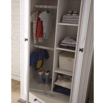 Laura Kleiderschrank Kinderkleiderschrank Babyzimmer Kinderzimmer Kiefer Weiß – Bild 2