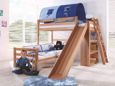 Etagenbett SKY Kinderbett mit Rutsche Spielbett Bett Weiß Stoffset Blau/Delfin – Bild 1