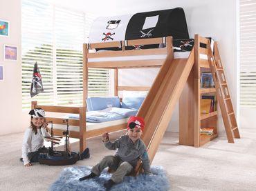 Etagenbett SKY Kinderbett mit Rutsche Spielbett Bett Natur Stoffset Pirat