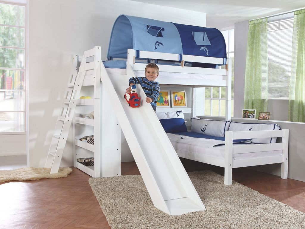 etagenbett sky kinderbett mit rutsche spielbett bett natur stoffset blau delfin kids teens. Black Bedroom Furniture Sets. Home Design Ideas
