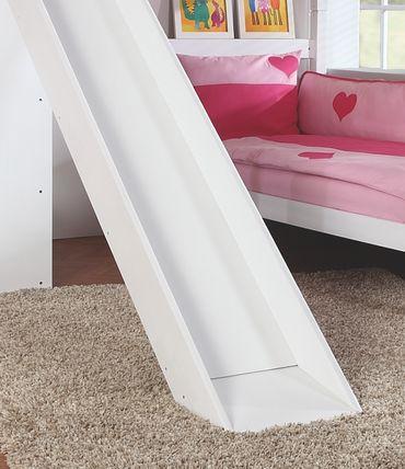 Etagenbett SKY Kinderbett mit Rutsche Spielbett Bett Natur Stoffset Lila/Rosa – Bild 4