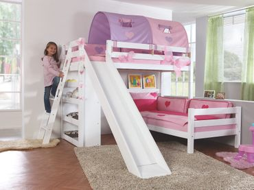 Etagenbett SKY Kinderbett mit Rutsche Spielbett Bett Natur Stoffset Lila/Rosa – Bild 1