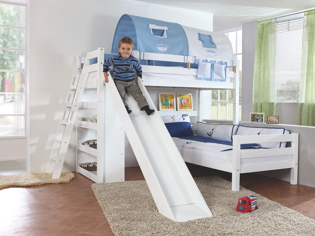 etagenbett sky kinderbett mit rutsche spielbett bett natur stoffset blau boy kids teens betten. Black Bedroom Furniture Sets. Home Design Ideas