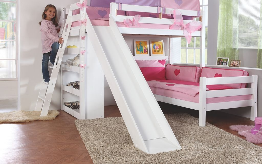 etagenbett sky kinderbett mit rutsche spielbett bett natur stoffset blau boy ebay. Black Bedroom Furniture Sets. Home Design Ideas