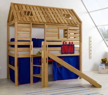 Hochbett Tom´s Hütte 1 Kinderbett m. Rutsche Spielbett Bett Natur Stoff Blau/Rot