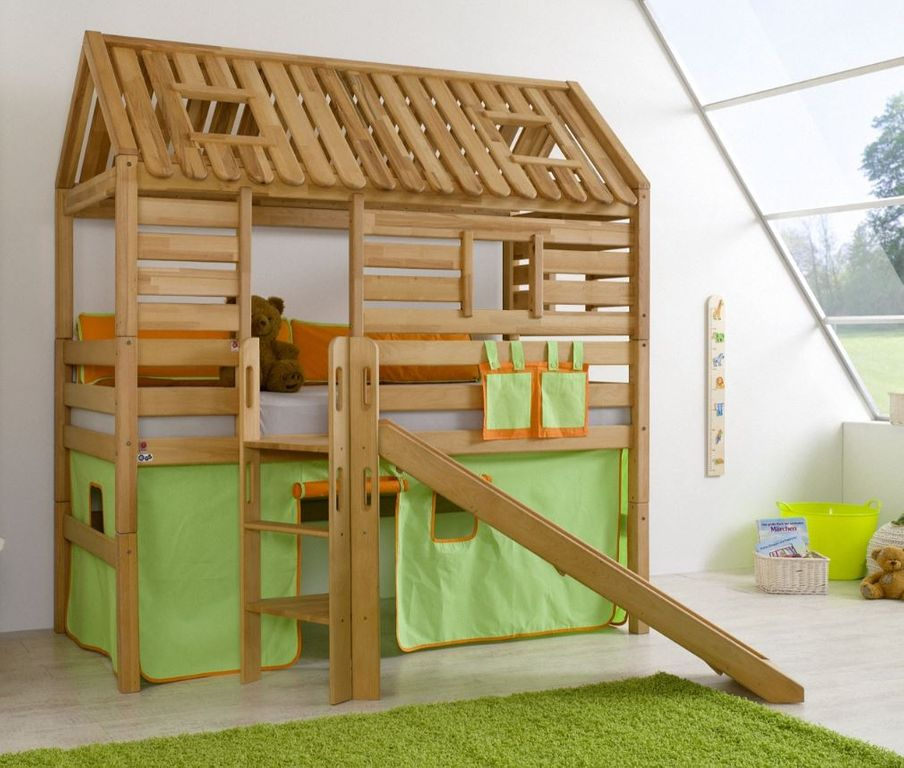 hochbett tom s h tte 1 kinderbett rutsche spielbett bett natur stoff gr n orange ebay. Black Bedroom Furniture Sets. Home Design Ideas