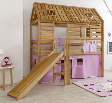 Hochbett Tom´s Hütte 1 Kinderbett m Rutsche Spielbett Bett Natur Stoff Rosa/Weiß