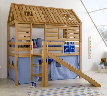 Hochbett Tom´s Hütte 1 Kinderbett Rutsche Spielbett Bett Natur Stoff Blau/Delfin