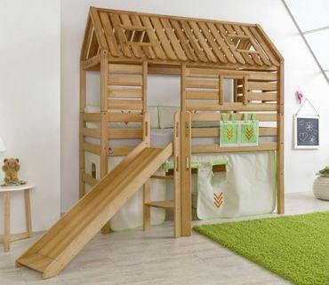 Hochbett Tom´s Hütte 1 Kinderbett m. Rutsche Spielbett Bett Natur Stoff Indianer