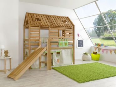 Hochbett Tom´s Hütte 1 Kinderbett m. Rutsche Spielbett Bett Natur Stoff Indianer – Bild 2