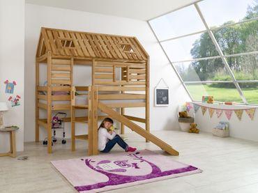 Hochbett Tom´s Hütte 1 Kinderbett mit Rutsche Spielbett Bett Natur Stoff Pirat – Bild 4