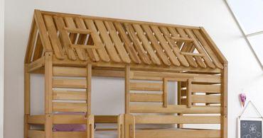 Hochbett Tom´s Hütte 1 Kinderbett mit Rutsche Spielbett Bett Natur Stoff Pirat – Bild 6