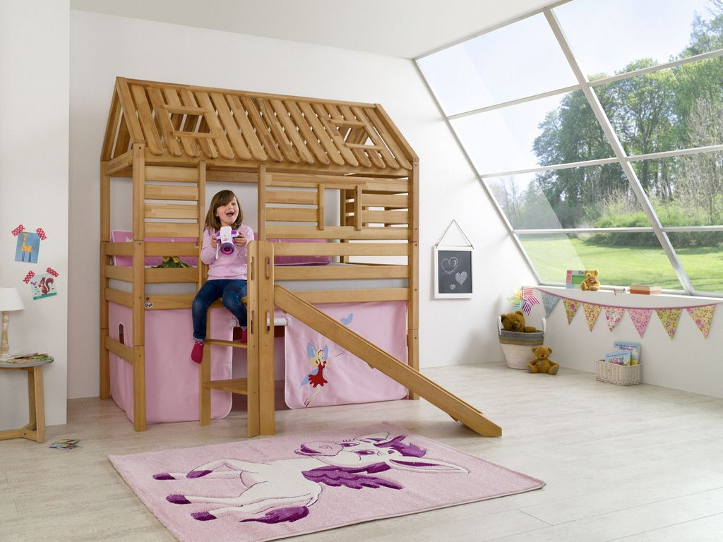 hochbett tom s h tte 1 kinderbett rutsche spielbett bett natur stoff prinzessin 4251418721650 ebay. Black Bedroom Furniture Sets. Home Design Ideas