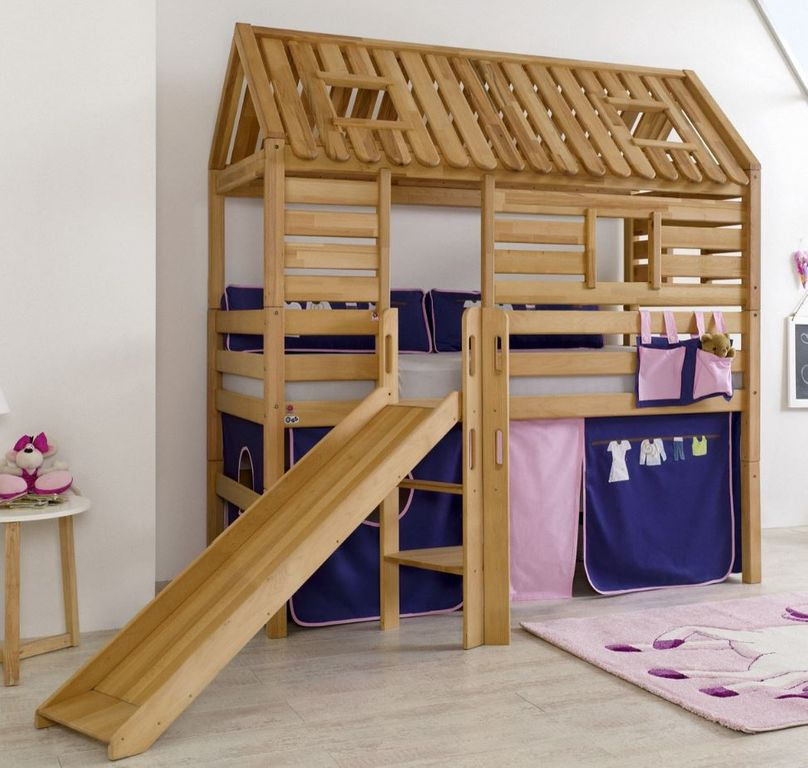hochbett tom s h tte 1 kinderbett rutsche spielbett bett natur stoff rosa violett kids teens. Black Bedroom Furniture Sets. Home Design Ideas