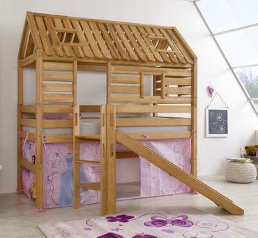 Hochbett Tom´s Hütte 1 Kinderbett Rutsche Spielbett Bett Natur Stoff Cinderella