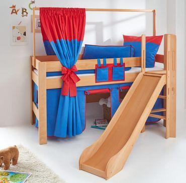 Hochbett LEO Kinderbett mit Rutsche Spielbett Bett Natur geölt Stoffset Blau/Rot