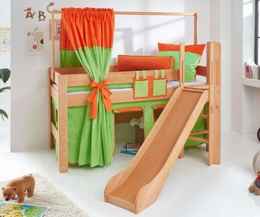 Hochbett LEO Kinderbett mit Rutsche Spielbett Bett Natur geölt Grün/Orange