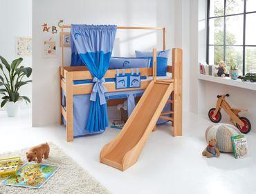 Hochbett LEO Kinderbett mit Rutsche Spielbett Bett Natur geölt Blau/Delfin