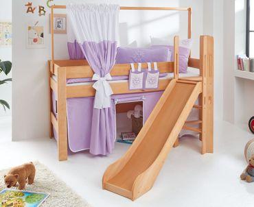 Hochbett LEO Kinderbett mit Rutsche Spielbett Bett Natur geölt Lila/Weiß