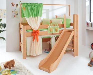 Hochbett LEO Kinderbett mit Rutsche Spielbett Bett Natur geölt Stoffset Indianer