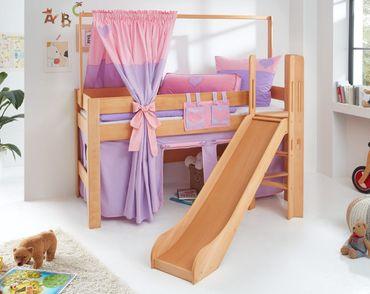 Hochbett LEO Kinderbett mit Rutsche Spielbett Bett Natur geölt Lila/Rosa/Herz