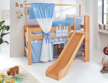 Hochbett LEO Kinderbett mit Rutsche Spielbett Bett Natur geölt Stoffset Blau/Boy