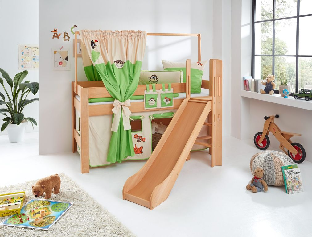 hochbett leo kinderbett mit rutsche spielbett bett natur ge lt dschungel ebay. Black Bedroom Furniture Sets. Home Design Ideas