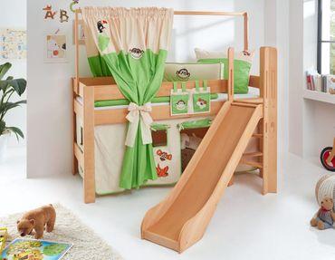 Hochbett LEO Kinderbett mit Rutsche Spielbett Bett Natur geölt  Dschungel