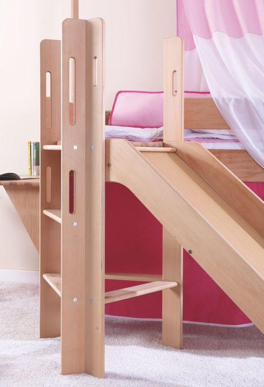 hochbett leo kinderbett mit rutsche spielbett bett natur ge lt rosa violett kids teens betten. Black Bedroom Furniture Sets. Home Design Ideas