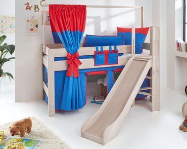 Hochbett LEO Kinderbett mit Rutsche Spielbett Bett Natur Stoffset Blau/Rot