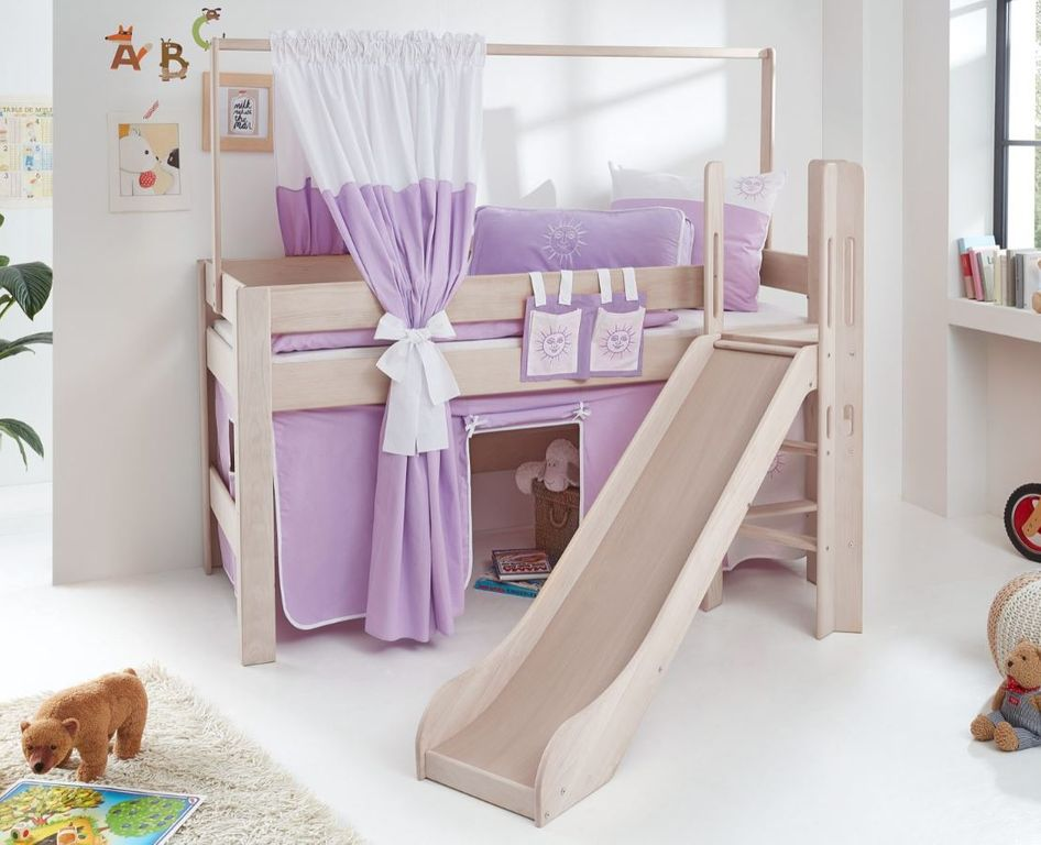 hochbett leo kinderbett mit rutsche spielbett bett wei stoffset lila wei kids teens betten. Black Bedroom Furniture Sets. Home Design Ideas