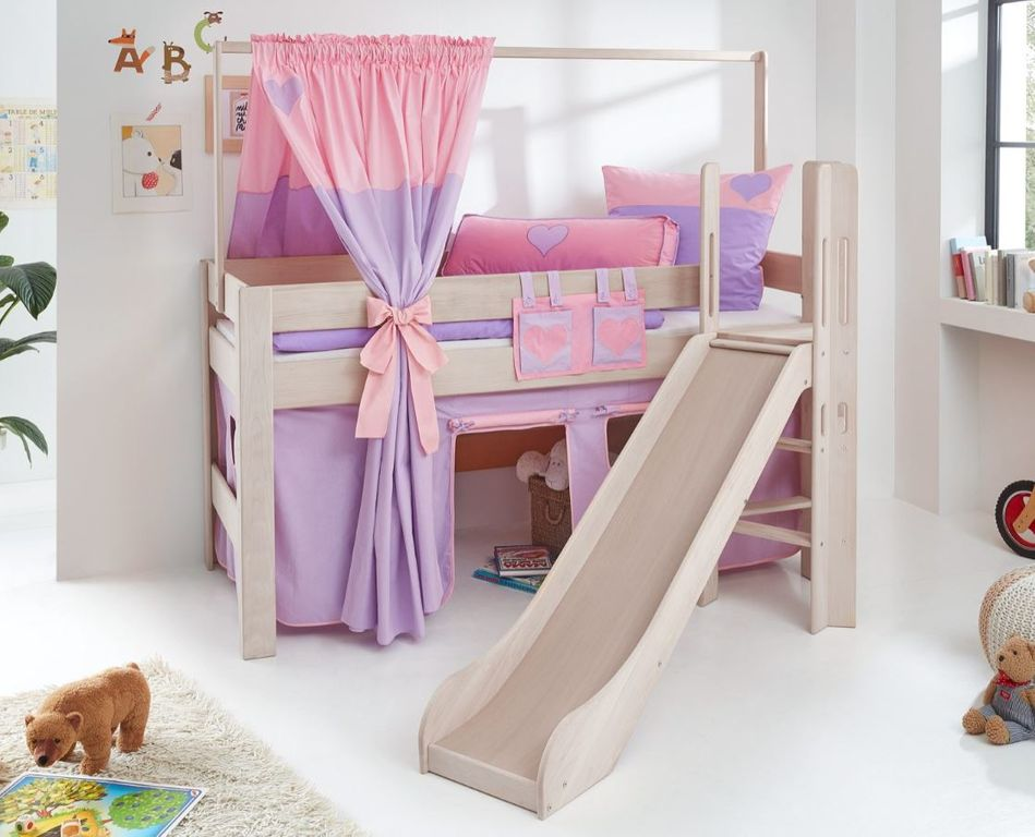 hochbett leo kinderbett mit rutsche spielbett bett wei stoffset lila rosa herz kids teens. Black Bedroom Furniture Sets. Home Design Ideas