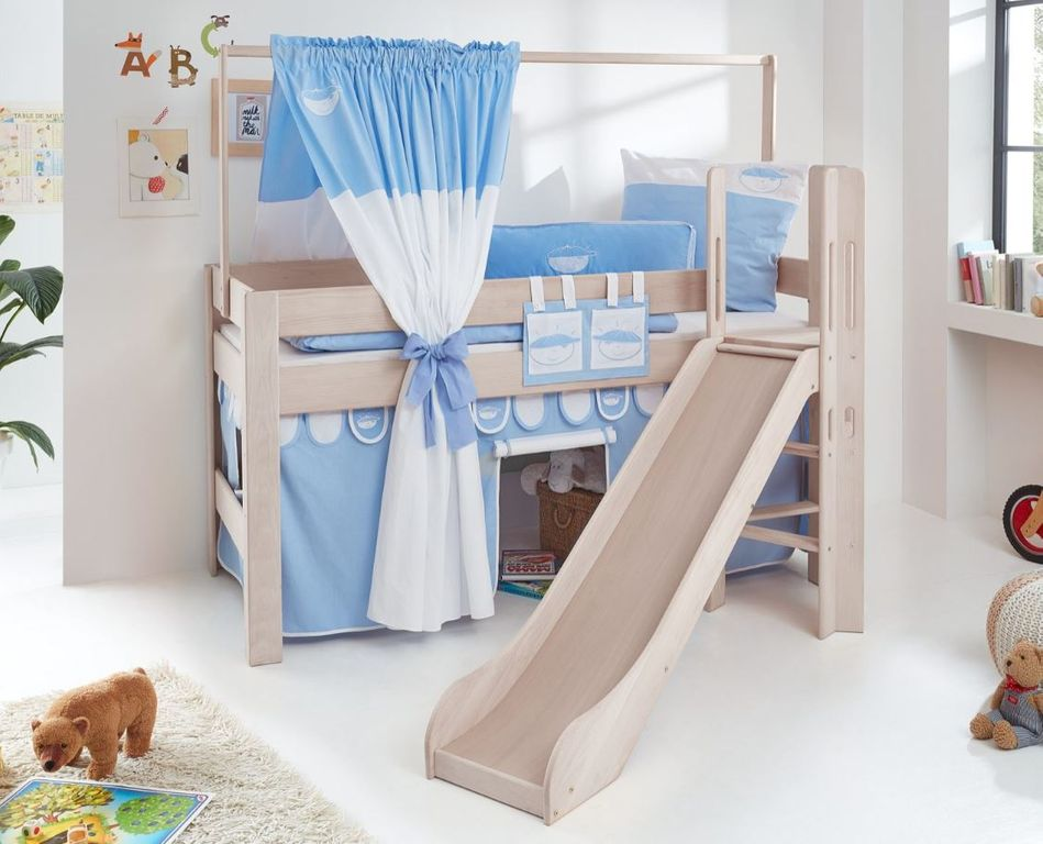 hochbett leo kinderbett mit rutsche spielbett bett wei stoffset blau boy kids teens betten. Black Bedroom Furniture Sets. Home Design Ideas