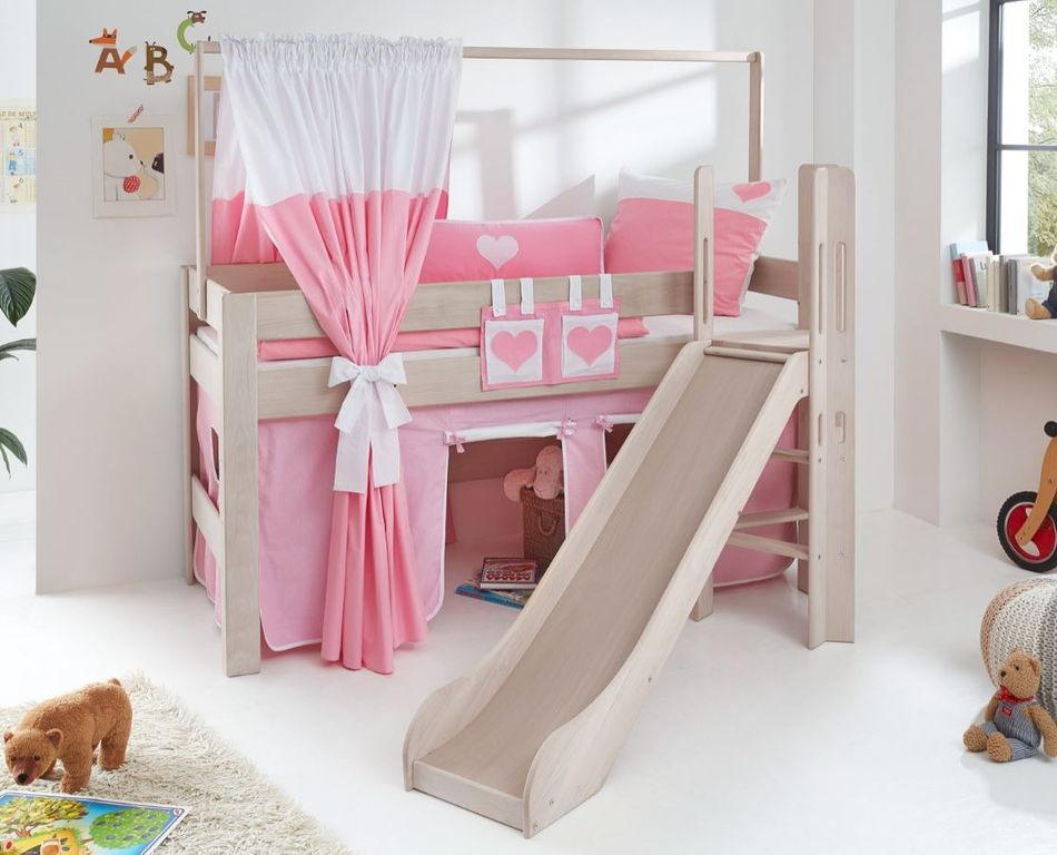 hochbett leo kinderbett mit rutsche spielbett bett wei. Black Bedroom Furniture Sets. Home Design Ideas