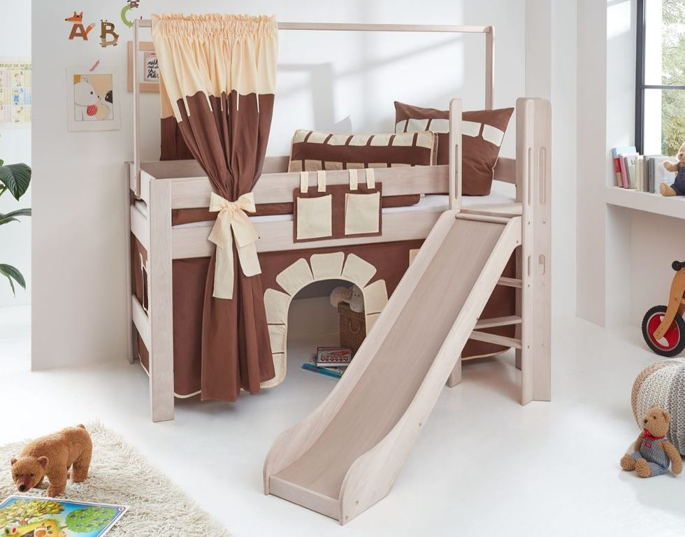 hochbett leo kinderbett mit rutsche spielbett bett wei stoffset burg ebay. Black Bedroom Furniture Sets. Home Design Ideas