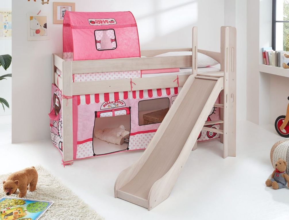 hochbett leo kinderbett mit rutsche spielbett bett wei stoffset hello kitty ebay. Black Bedroom Furniture Sets. Home Design Ideas