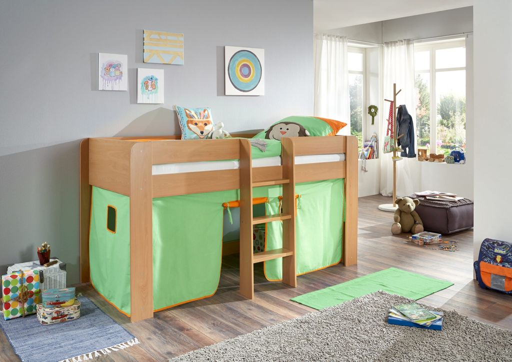 hochbett andi 1 kinderbett spielbett halbhohes bett buche stoffset gr n orange ebay. Black Bedroom Furniture Sets. Home Design Ideas