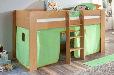 Hochbett ANDI 1 Kinderbett Spielbett halbhohes Bett Buche Stoffset Grün/Orange – Bild 1