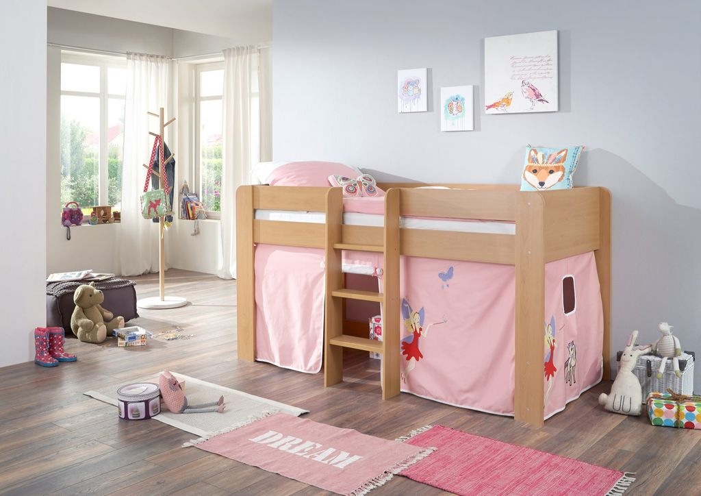 hochbett andi 1 kinderbett spielbett halbhohes bett buche stoffset prinzessin ebay. Black Bedroom Furniture Sets. Home Design Ideas