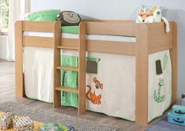 Hochbett ANDI 1 Kinderbett Spielbett halbhohes Bett Buche Stoffset Dschungel – Bild 1