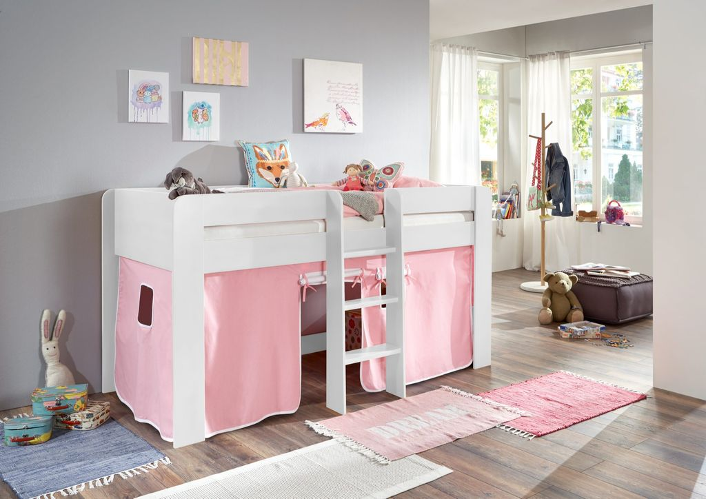 hochbett andi 1 kinderbett spielbett halbhohes bett wei stoffset rosa wei kids teens betten. Black Bedroom Furniture Sets. Home Design Ideas