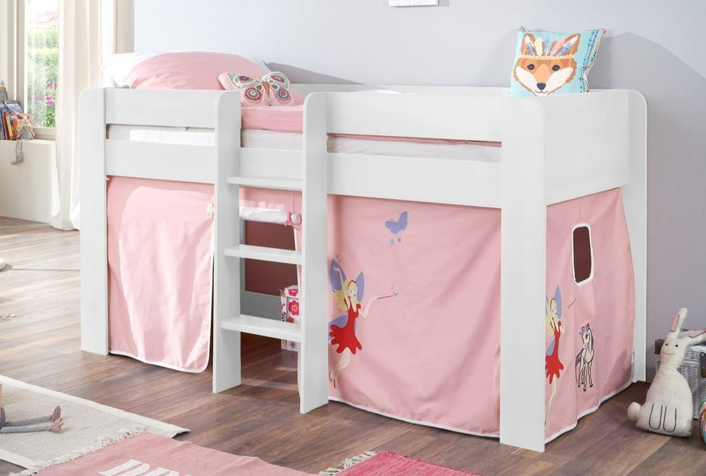hochbett andi 1 kinderbett spielbett halbhohes bett wei stoffset prinzessin kids teens betten. Black Bedroom Furniture Sets. Home Design Ideas