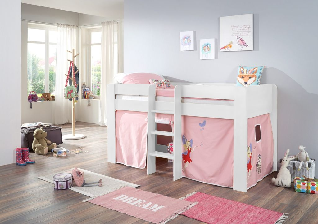 hochbett andi 1 kinderbett spielbett halbhohes bett wei stoffset prinzessin ebay. Black Bedroom Furniture Sets. Home Design Ideas