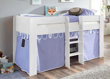 Hochbett ANDI 1 Kinderbett Spielbett halbhohes Bett Weiß Stoffset Blau/Boy