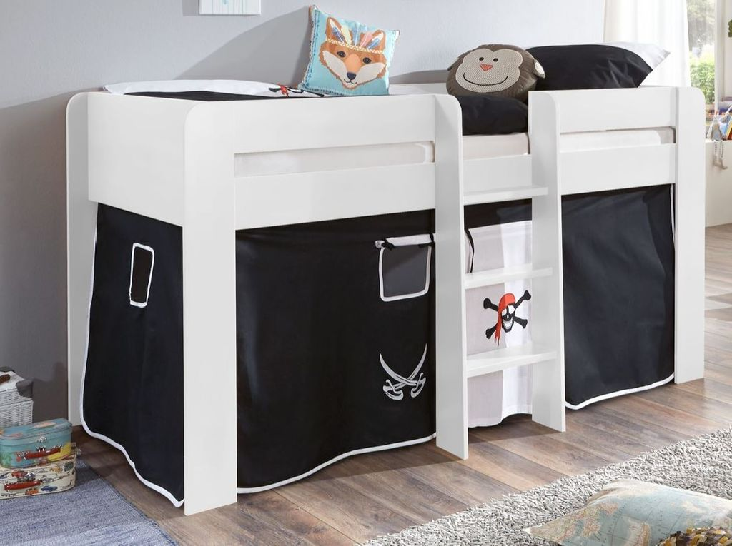 hochbett andi 1 kinderbett spielbett halbhohes bett wei stoffset pirat kids teens betten. Black Bedroom Furniture Sets. Home Design Ideas