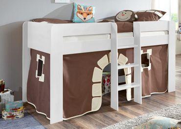 Hochbett ANDI 1 Kinderbett Spielbett halbhohes Bett Weiß Stoffset Burg – Bild 1